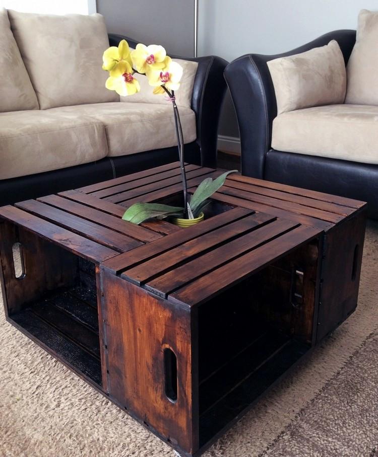 Diy Wohnzimmertisch  Tisch aus Weinkisten bauen 12 praktische DIY Ideen und