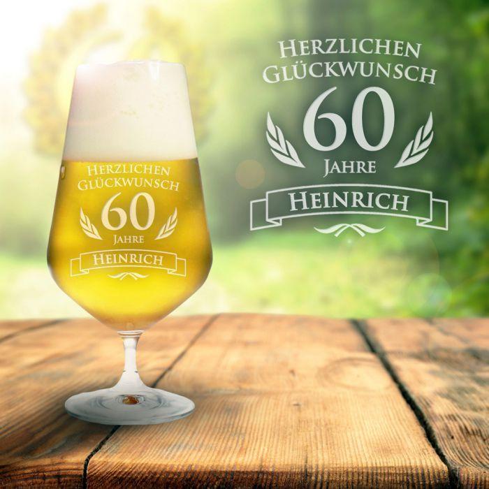 Dumme Geschenke  Bierglas zum 60 Geburtstag personalisiert Pilsglas mit