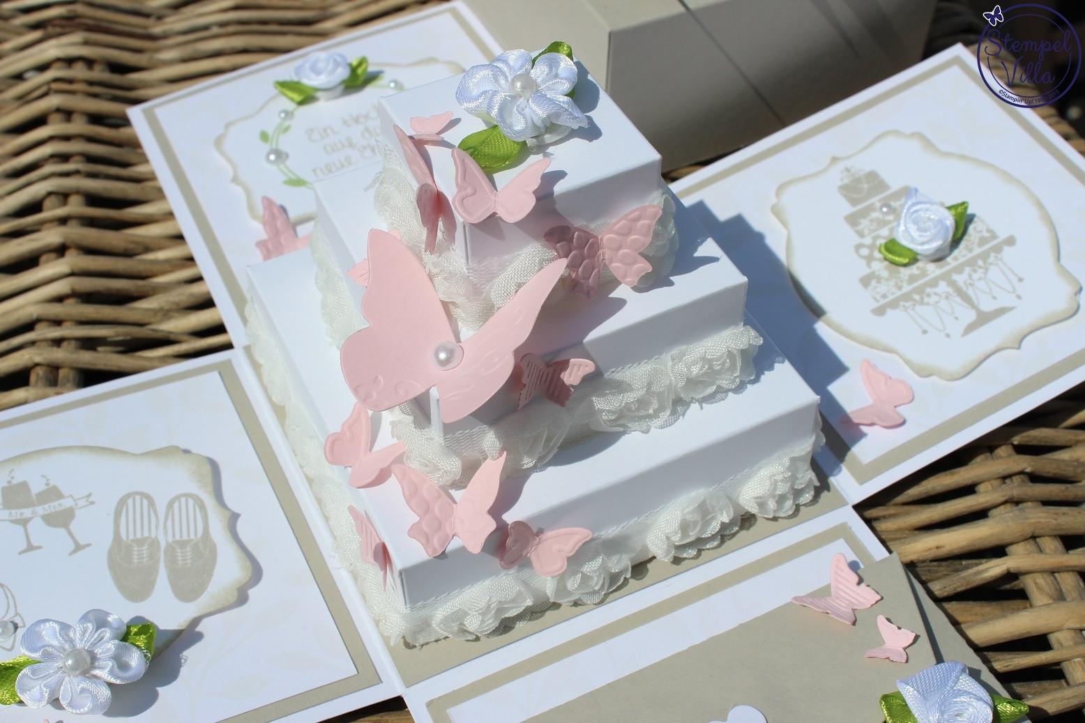 Explosionsbox Hochzeit Anleitung  Explosionsbox zur Hochzeit mit Torte