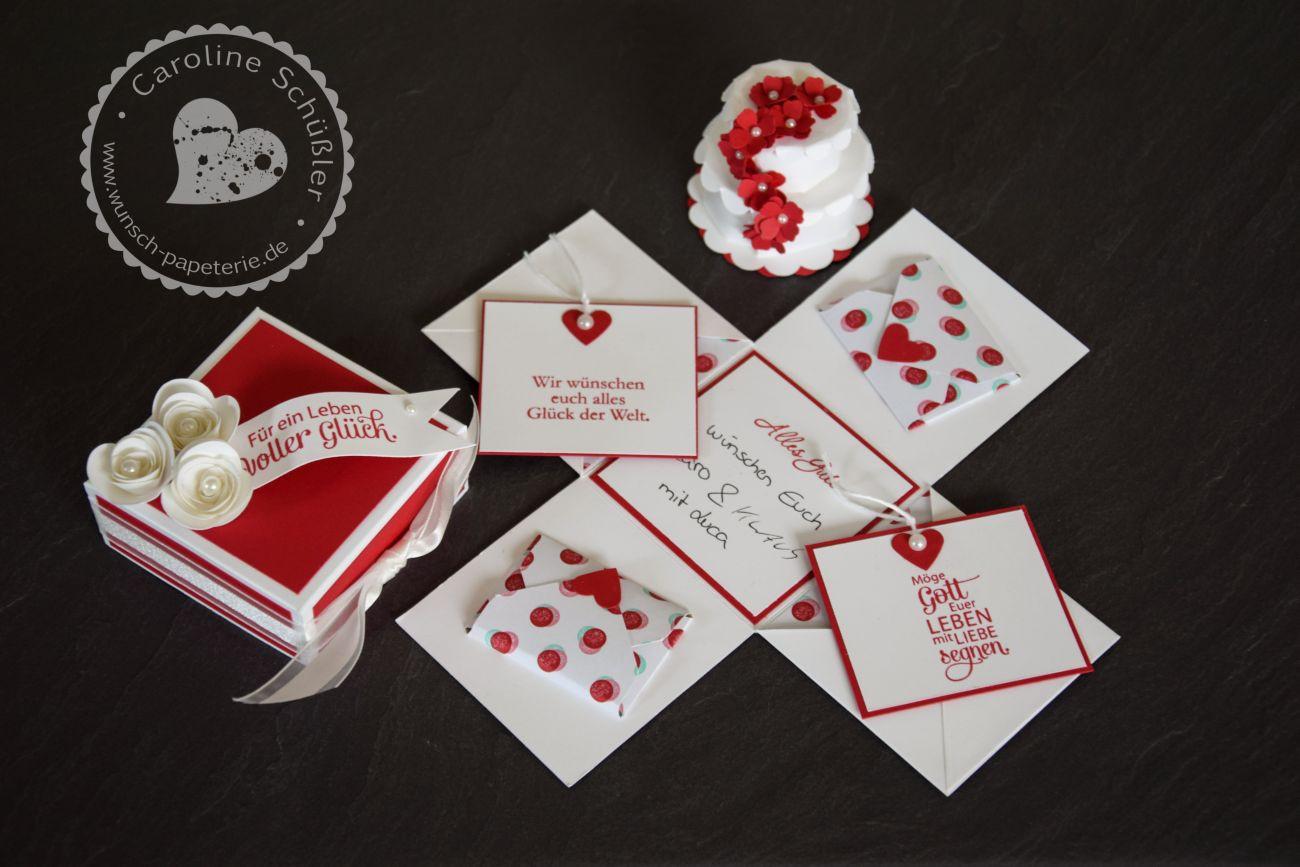 Explosionsbox Hochzeit Anleitung  Explosionsbox zur Hochzeit mit Geldverpackung