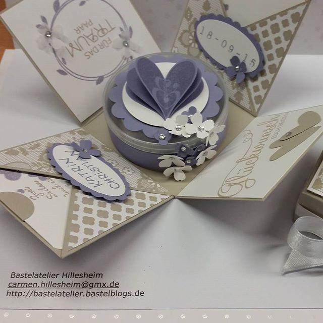 Explosionsbox Hochzeit Anleitung  Explosionsbox zur Hochzeit in blauregen auftragsarbeit