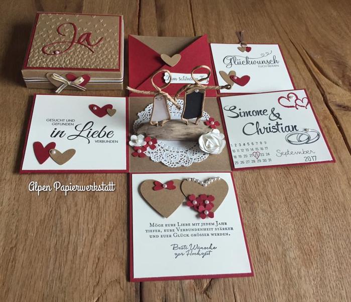 Explosionsbox Hochzeit Anleitung  Geldgeschenke Geldgeschenk Explosionsbox zur Hochzeit