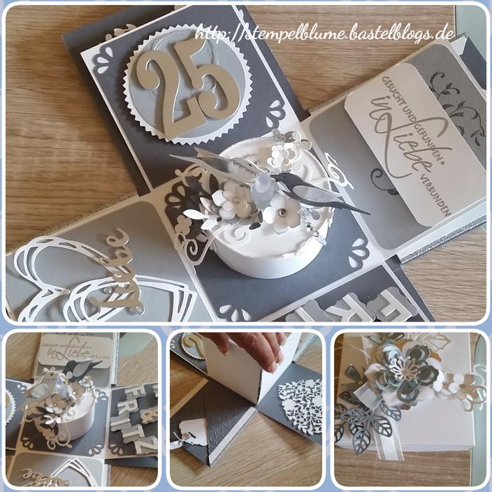 Explosionsbox Hochzeit Anleitung  Explosionsbox Silberhochzeit