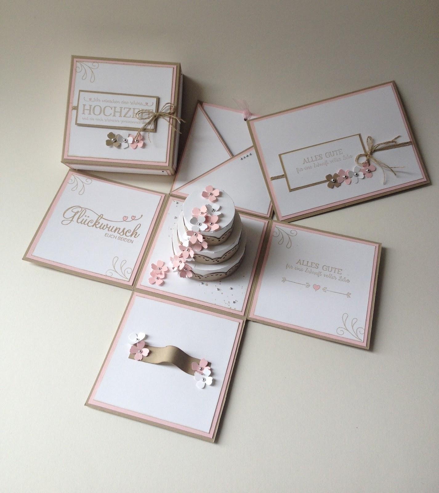 Explosionsbox Hochzeit Anleitung  Stempellicht Explosionsbox zur Hochzeit mit Torte