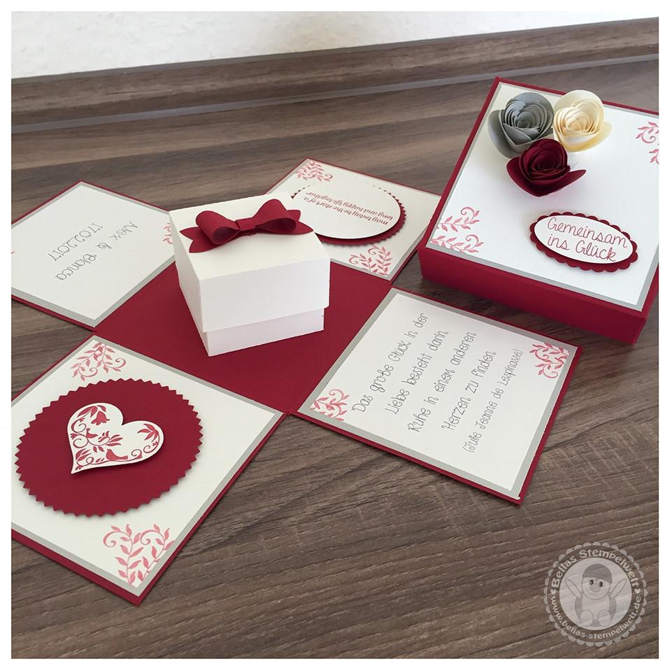 Explosionsbox Hochzeit Anleitung  Stampin Up Explosionsbox zur Hochzeit mit einer