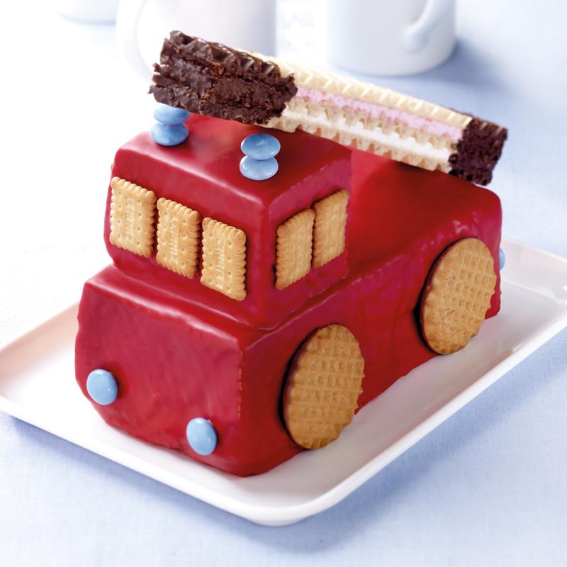 Feuerwehr Kuchen  Feuerwehrkuchen mit Drehleiter Rezept