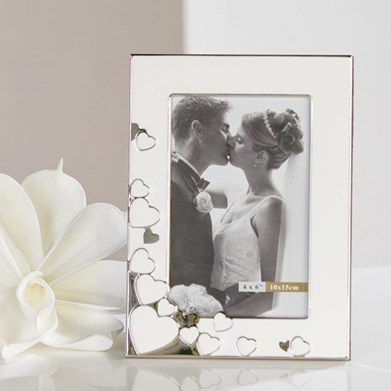 Fotorahmen Hochzeit  Fotorahmen weiß und silber mit hochglänzender Oberlfäche