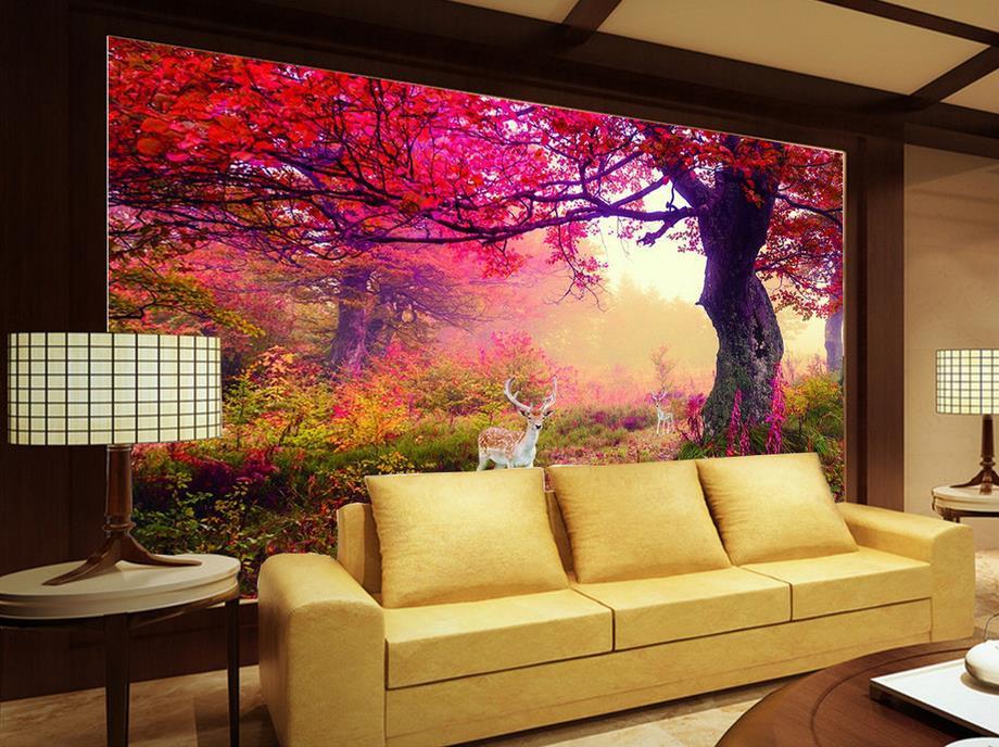 Fototapete Wohnzimmer  Benutzerdefinierte 3d tapete Meer elch wald TV hintergrund