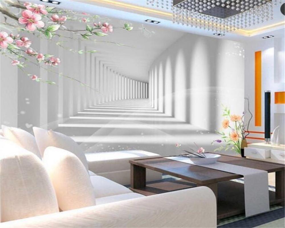 Fototapete Wohnzimmer  Beibehang 3D mode blume promenade 3D verlängerung raum