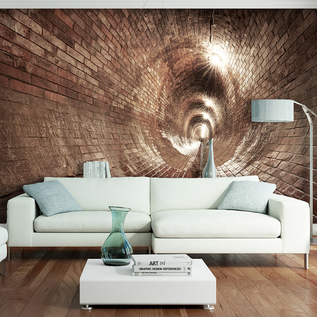 Fototapete Wohnzimmer  VLIES FOTOTAPETE Tunnel Ziegel grau 3D effekt TAPETE