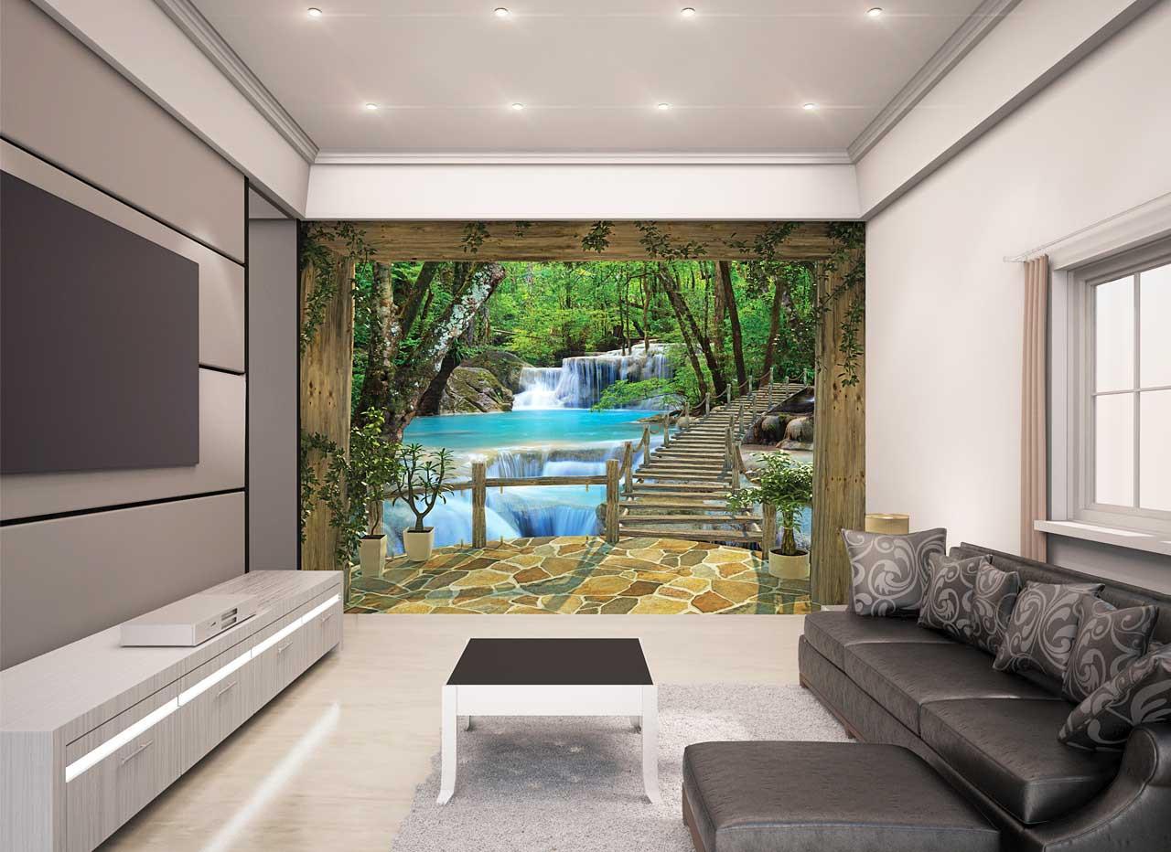 Fototapete Wohnzimmer  Fototapete Wasserfall Bäume Brücke Natur Wandtapete