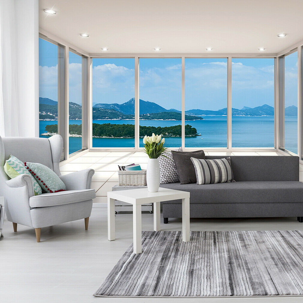 Fototapete Wohnzimmer  VLIES FOTOTAPETE MEER Insel Terrasse Fenster 3D TAPETE