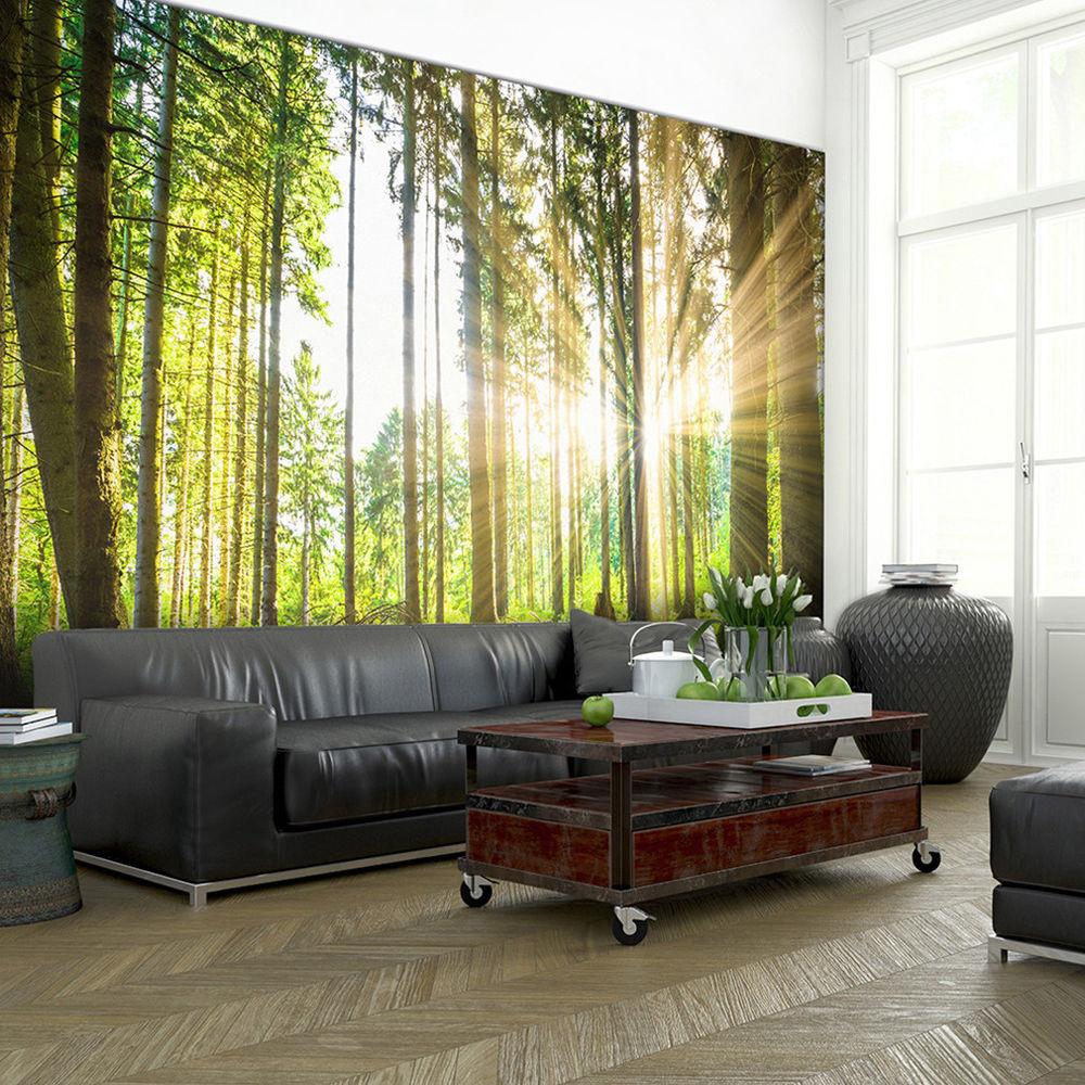Fototapete Wohnzimmer  VLIES FOTOTAPETE Wald Sonne Landschaft grün TAPETE