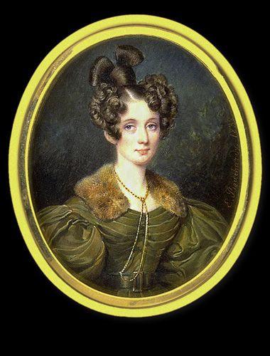 Frisuren 19 Jahrhundert  Etienne Bouchardy Lady in Brown Dress with Fur Collar 1832