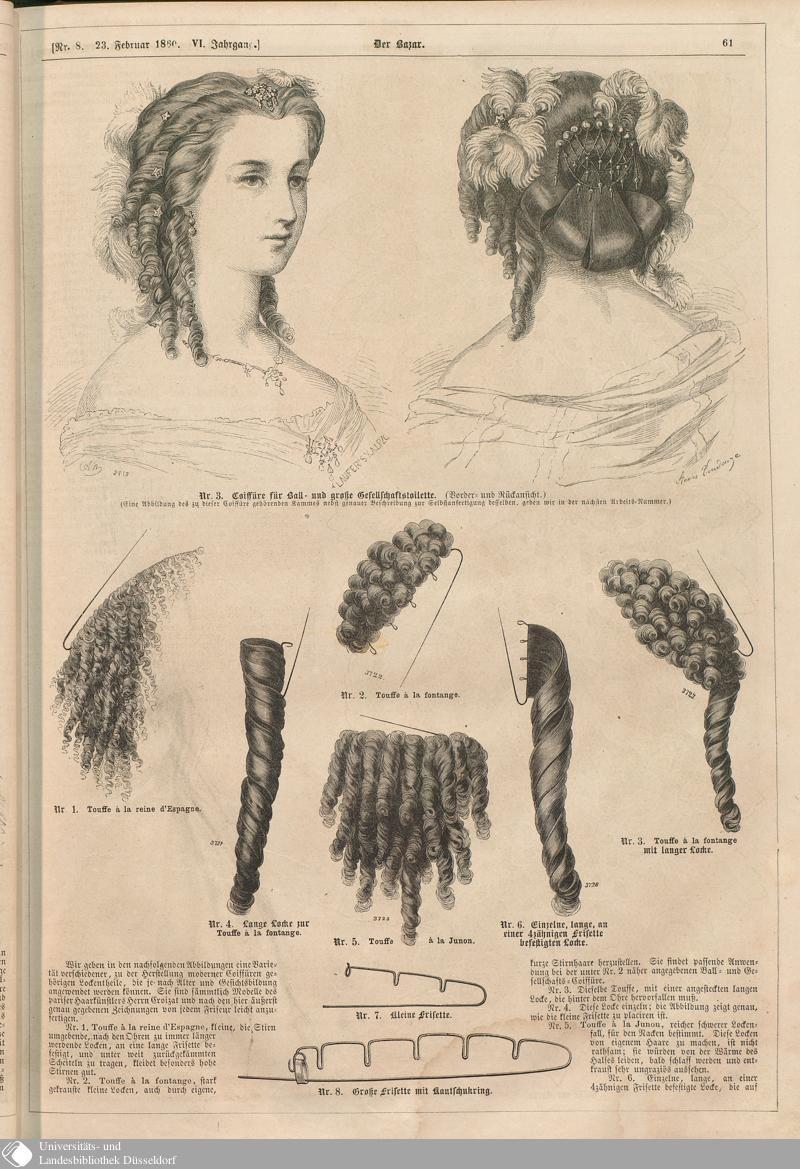 Frisuren 19 Jahrhundert  63 [61] Nr 8 Der Bazar Page Digitale Sammlungen