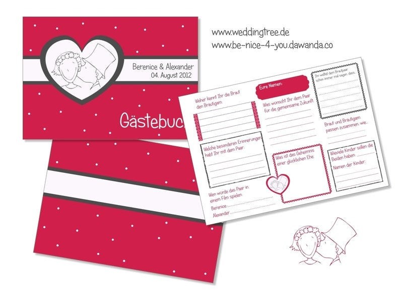 Gästebuch Hochzeit Fragen  Gästebuch Hochzeit mit Gästefragen PDF