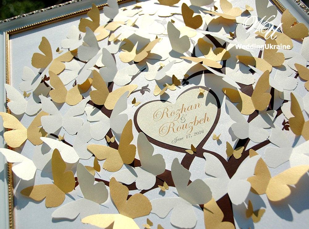 Gästebuch Hochzeit Ideen  Hochzeit Gästebuch Ideen Elfenbein und Gold Schmetterlinge