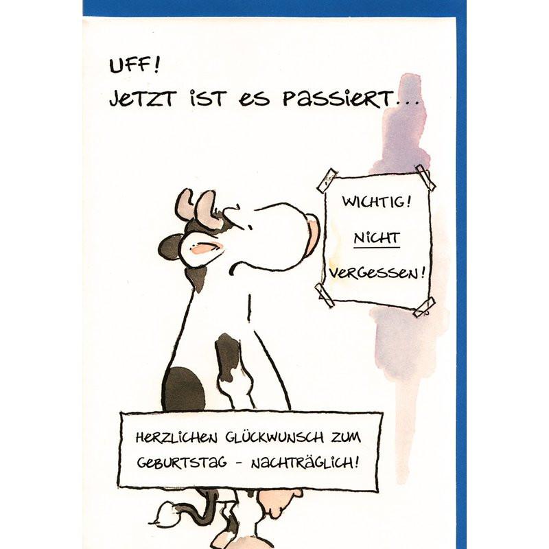 Geburtstagsbilder Witzig  Geburtstagskarte nachträglich witzig Geburtstag vergessen Kuh