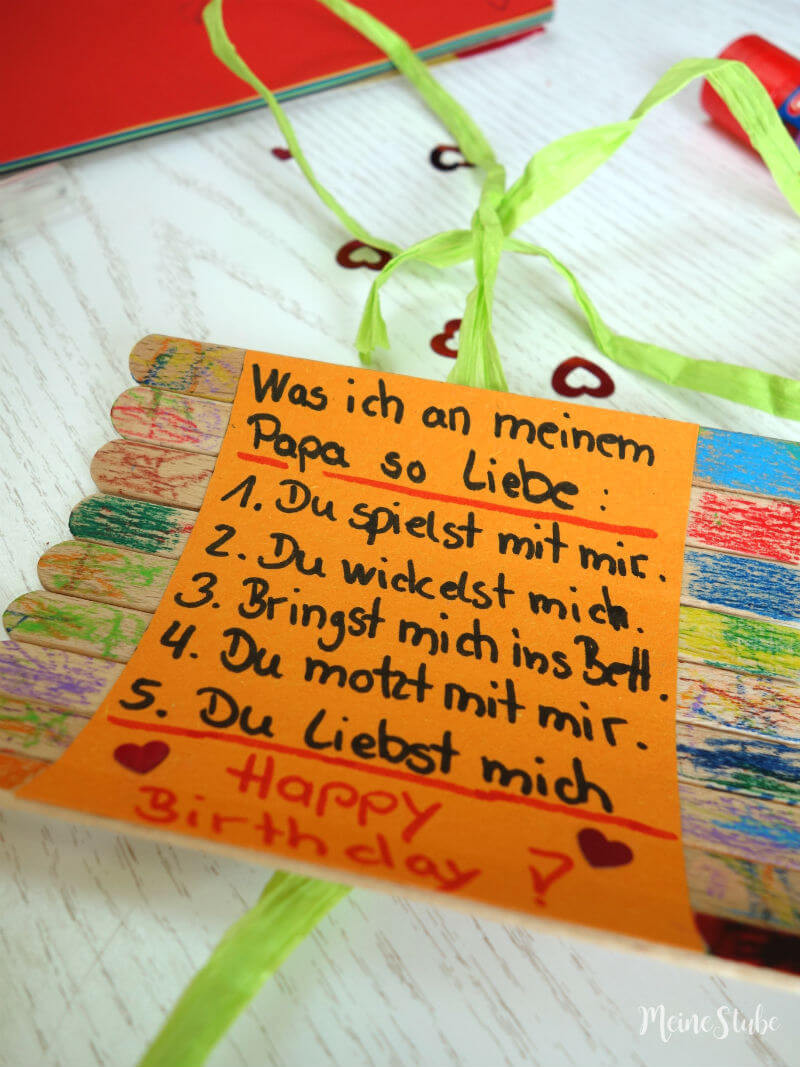 Geburtstagsgeschenke Mama  Geburtstagsgeschenk basteln mit Kids Happy Birthday Papa