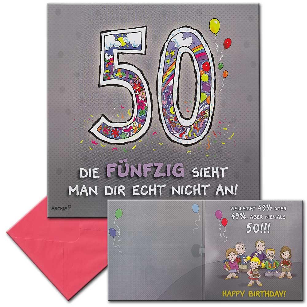 Geburtstagskarten 50  Archies Musikkarte Geburtstagskarte 50 Geburtstag