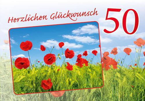 Geburtstagskarten 50  Geburtstagskarte 50 Jahre Mohnblumen