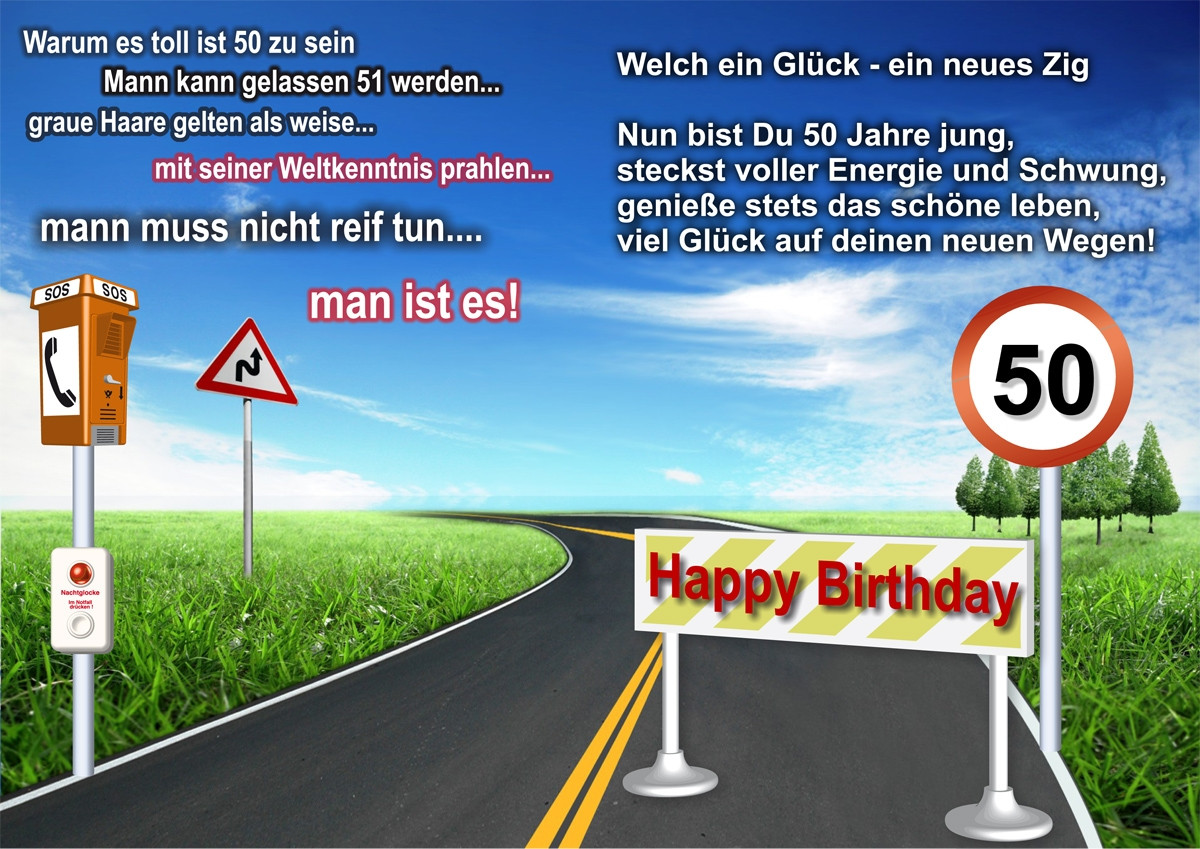Geburtstagskarten 50  Geburtstagskarte zum 50´sten Aussen Foto & Bild