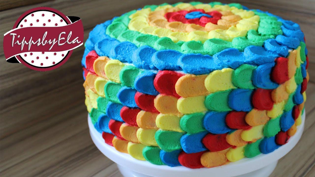 Geburtstagstorte Kinder  Regenbogen Torte aus Sahne selber machen Anleitung Deutsch