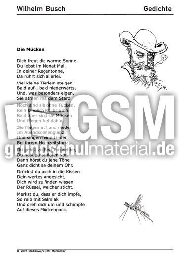 Gedichte Diamantene Hochzeit Wilhelm Busch  Die Mücken Gedichte Arbeitsbögen Wilhelm Busch