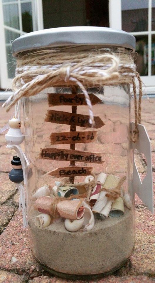 Geldgeschenke Hochzeit Basteln Sand  Hochzeitsgeschenk Geld im Glas Geschenk schenken