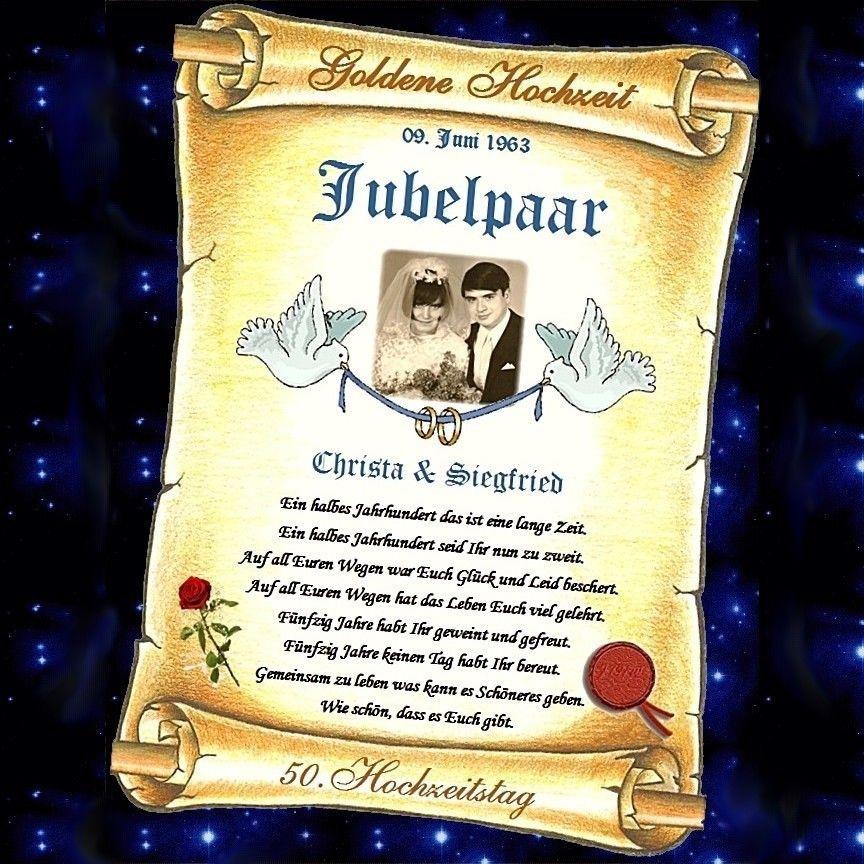Geschenk Für Goldene Hochzeit  Geschenk Goldene Hochzeit Urkunde zum 50 HOCHZEITSTAG