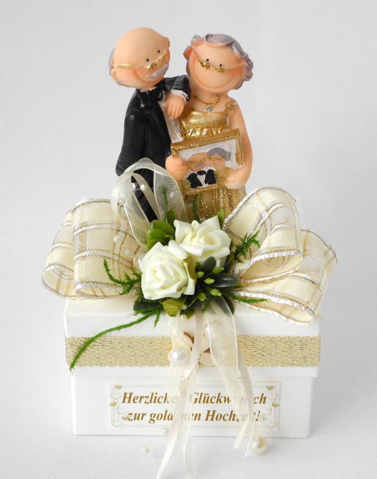 Geschenk Für Goldene Hochzeit  Geschenkschachtel goldene Hochzeit creme Geschenk