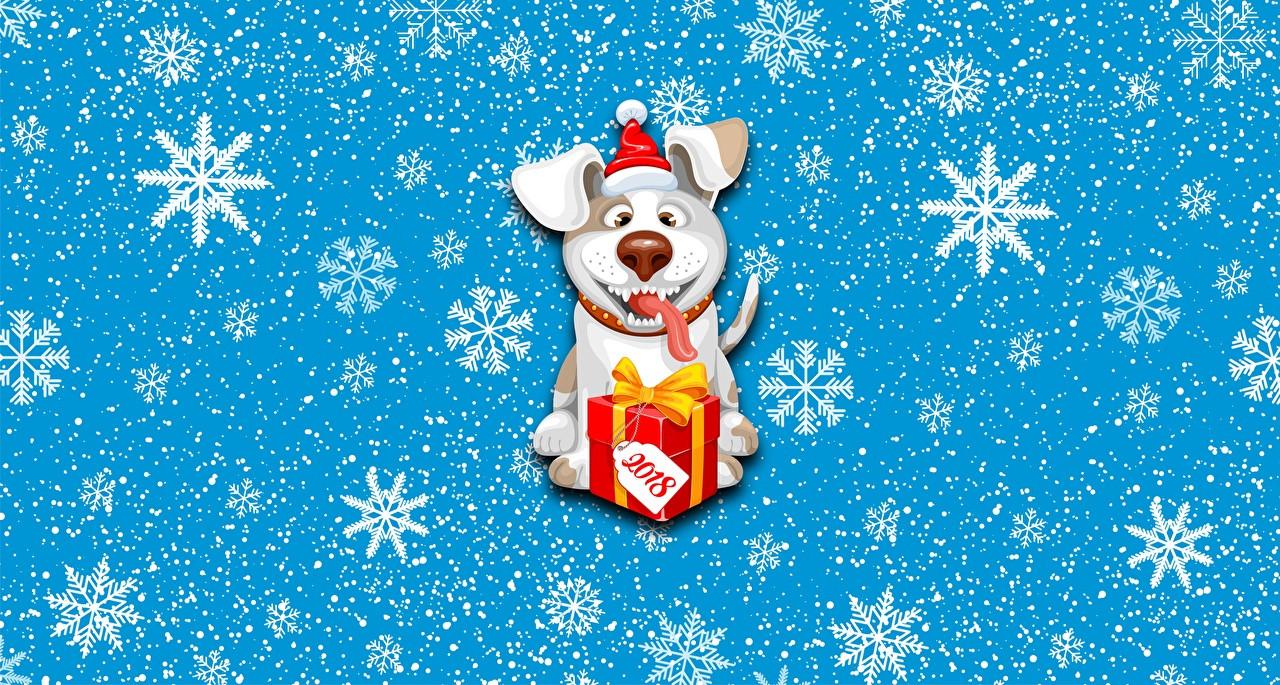 Geschenke 2018  Bilder 2018 Hunde Neujahr Schneeflocken Geschenke Tiere