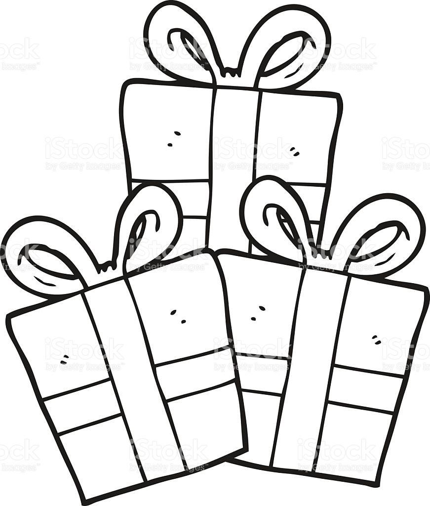 Clipart Geschenk Schwarz Weiß