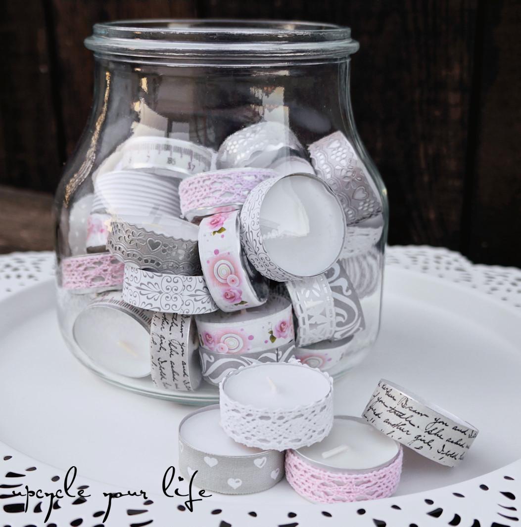 Geschenke Für Alte Leute  teelichter im glas aufgehübscht mit washitape