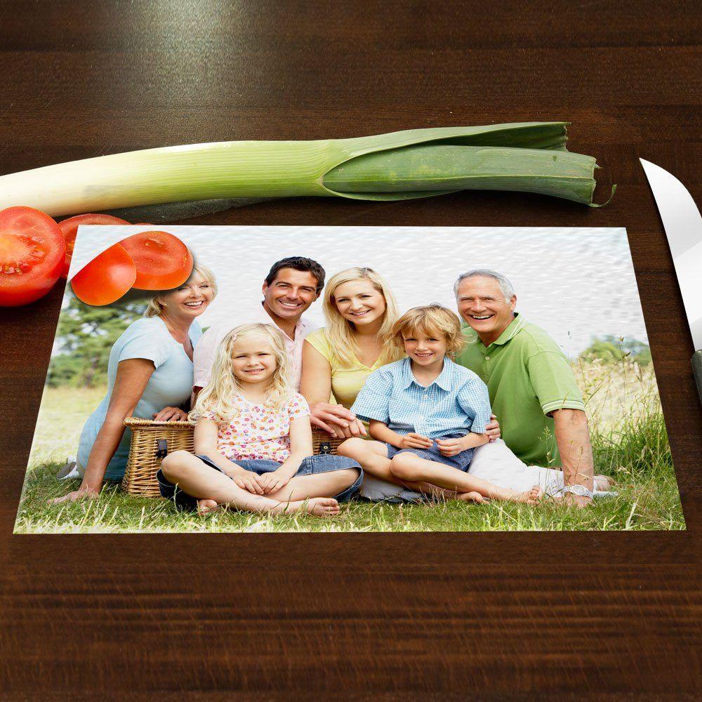 Geschenke Für Die Ganze Familie  Glasschneidebrett mit deinem Foto