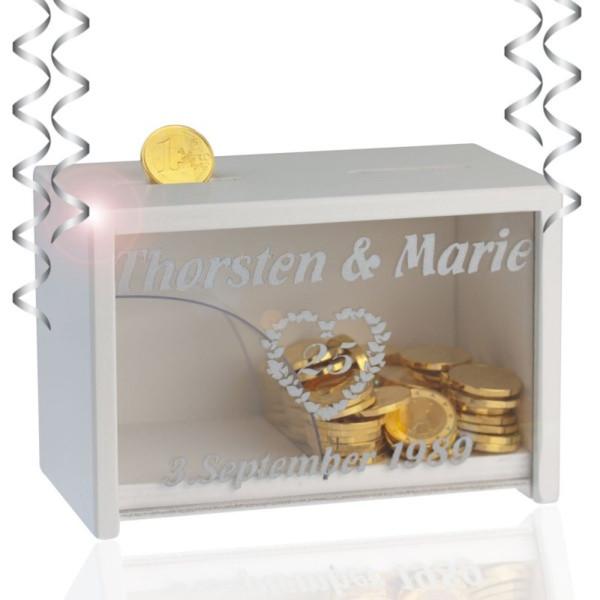 Geschenke Silberhochzeit Eltern  Spardose Silberhochzeit Silberhochzeit