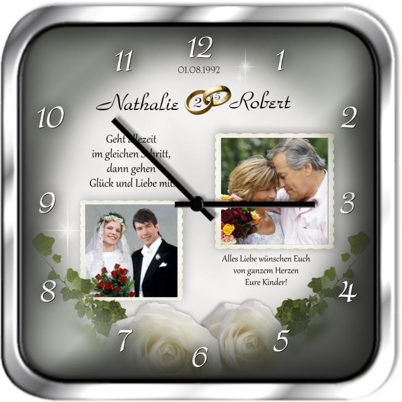 Geschenke Zum 25 Hochzeitstag  Geschenke zur Silberhochzeit eckige Fotouhr Fotouhr