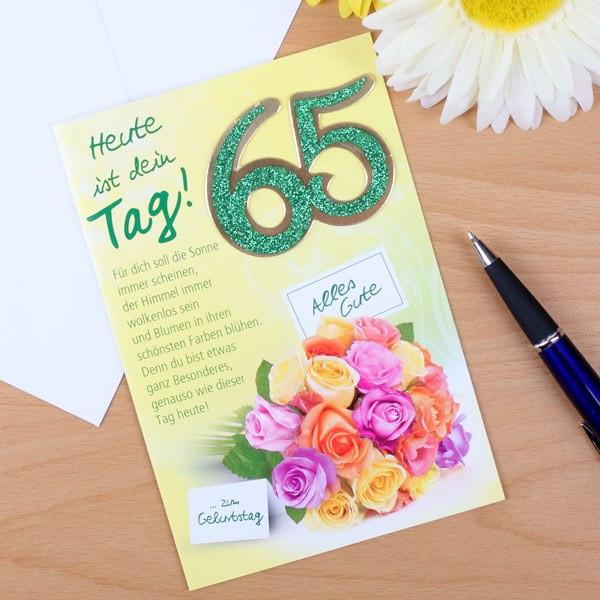 Geschenke Zum 65  Grußkarte zum 65 Geburtstag