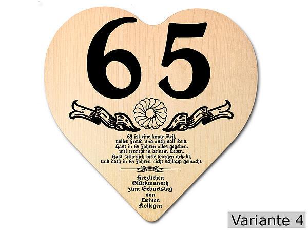 Geschenke Zum 65  Geschenk zum 65 Geburtstag Herz Holzschild mit