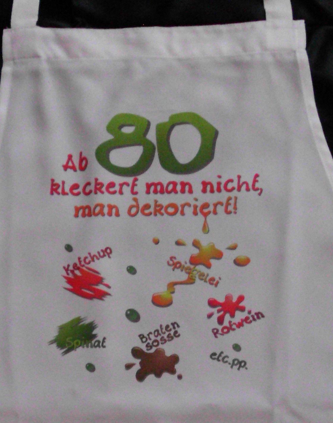 Geschenke Zum 80. Geburtstag Oma  80 Geburtstag klecker Schürze für Erwachsene Scherzartikel