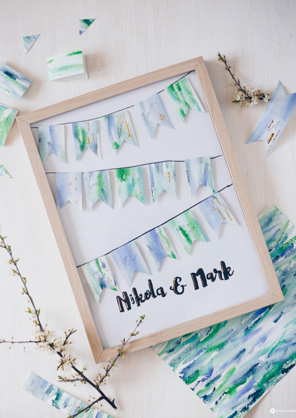 Geschenkideen Mit Fotos Zum Selbermachen  DIY Gästebuchposter zur Hochzeit selbermachen süße