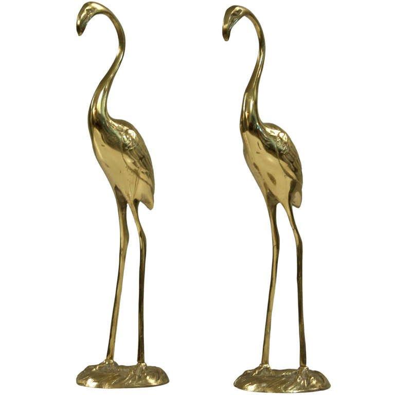 Gilde Handwerk  2 Regency brass high end flamingos by Gilde handwerk at