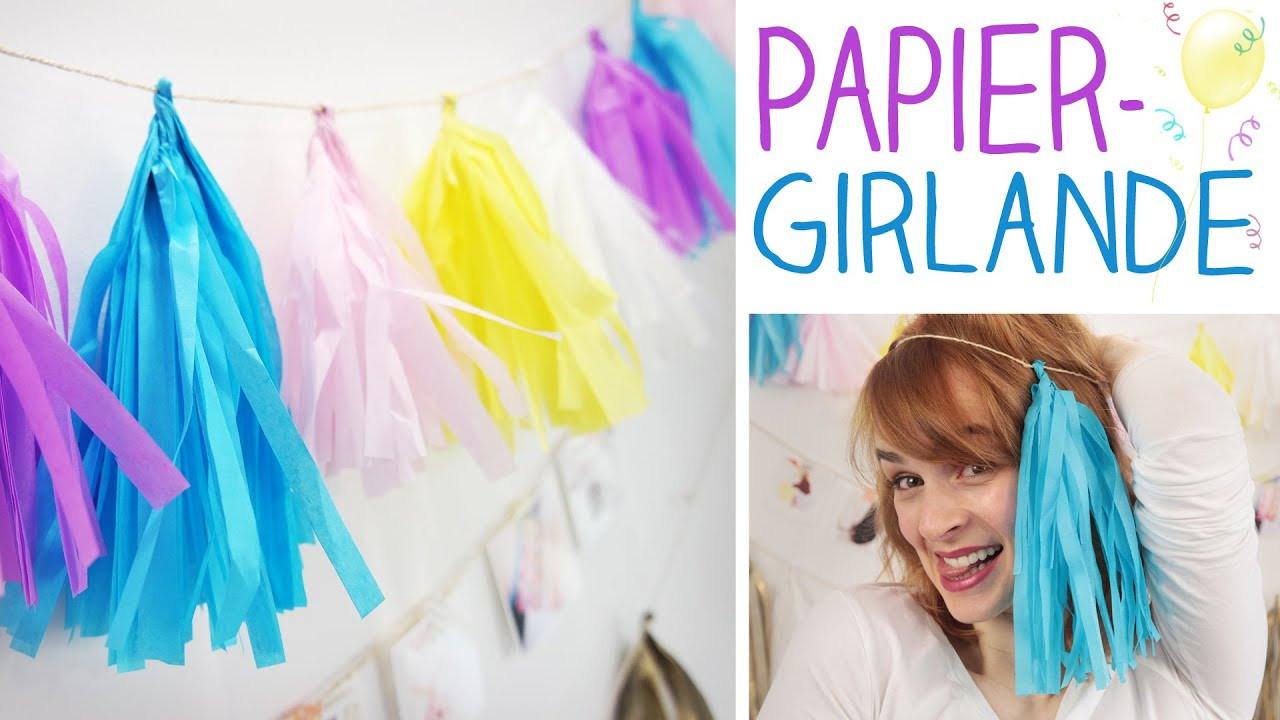 Girlande Diy  DIY Party Girlande in wenigen Minuten Papier Troddel