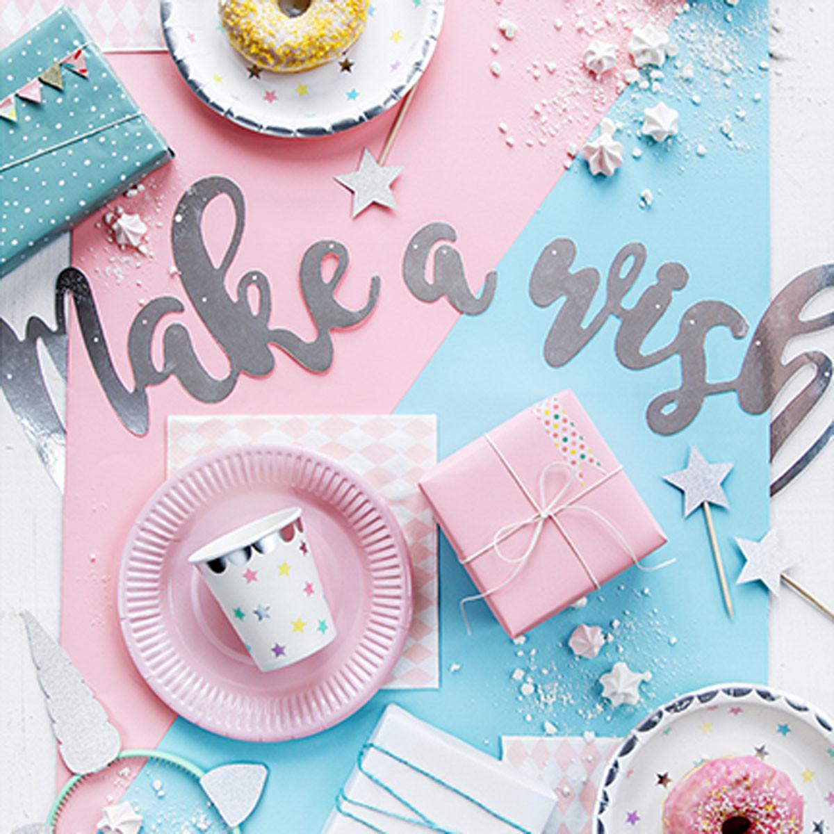Girlande Diy  Girlande DIY Banner Make a Wisch silberfarbig glänzend