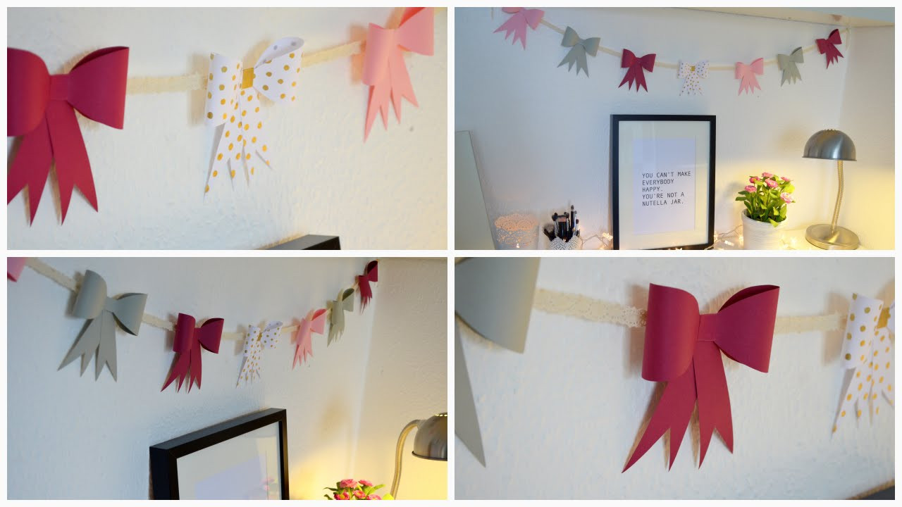 Girlande Diy  DIY Papierschleifen Girlande DIY Paper Bow Garland DIY