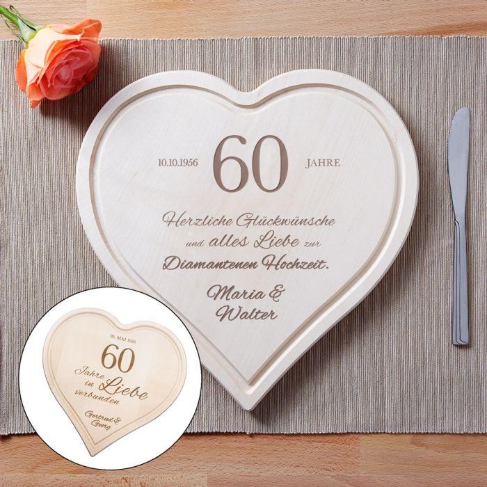 Glückwunsch Zur Diamantenen Hochzeit  Graviertes Holzherz zur diamantenen Hochzeit individuell