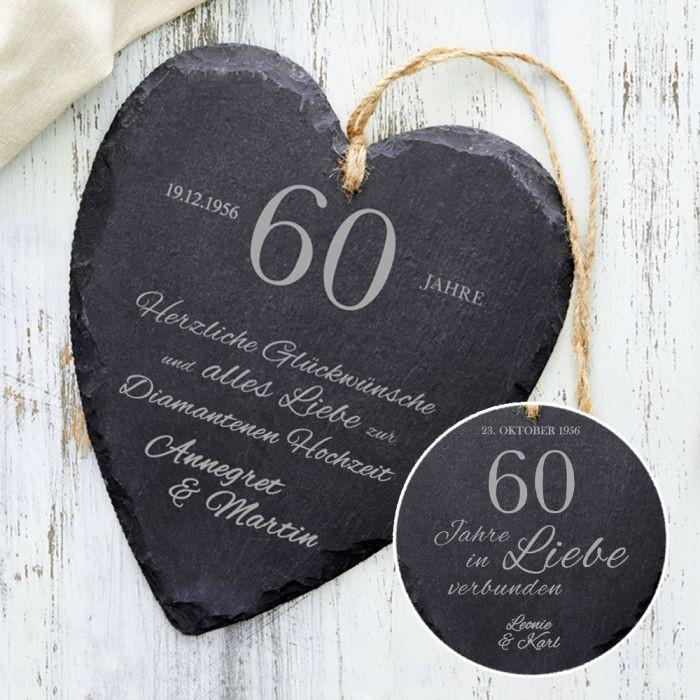 Glückwunsch Zur Diamantenen Hochzeit  Schieferherz zur diamantenen Hochzeit mit Wunschnamen