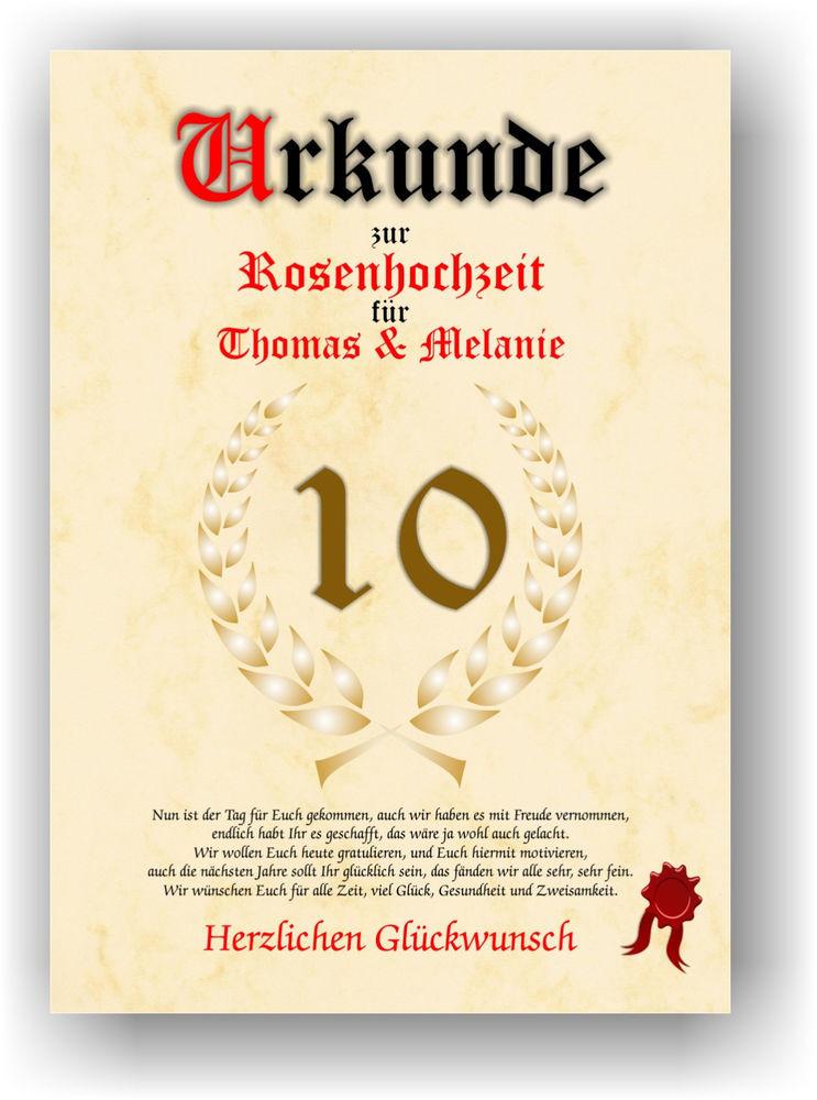 Glückwünsche Zum 10. Hochzeitstag Hölzerne Hochzeit  Rosenhochzeit Urkunde zum 10 Hochzeitstag Geschenkidee