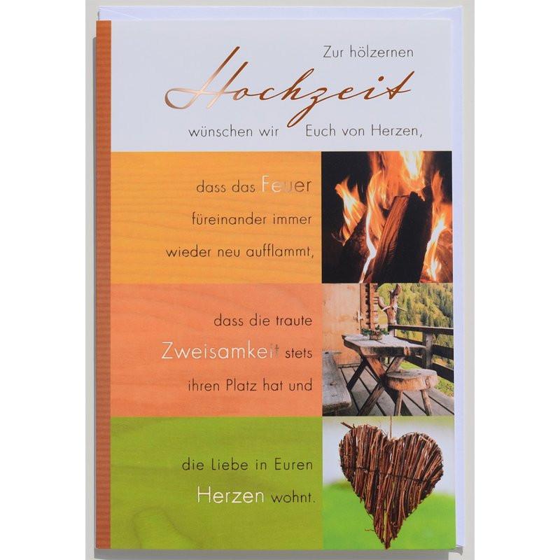 Glückwünsche Zum 10. Hochzeitstag Hölzerne Hochzeit  Glückwunschkarte Hölzerne Hochzeit 5 oder 10 Jahre