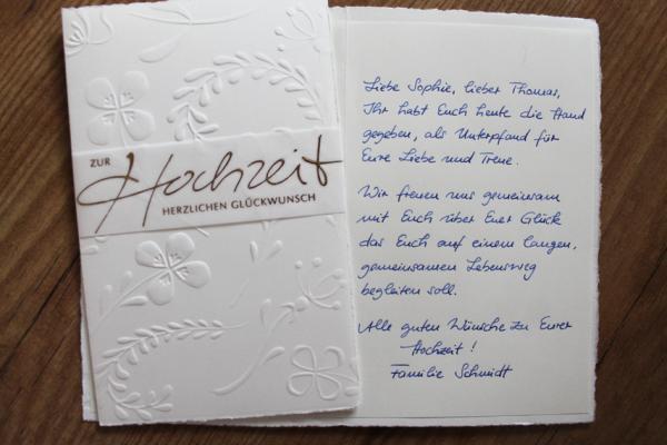 Glückwünsche Zur Hochzeit Karte Schreiben  Handgeschriebene Karten und Briefe Glückwunschkarte